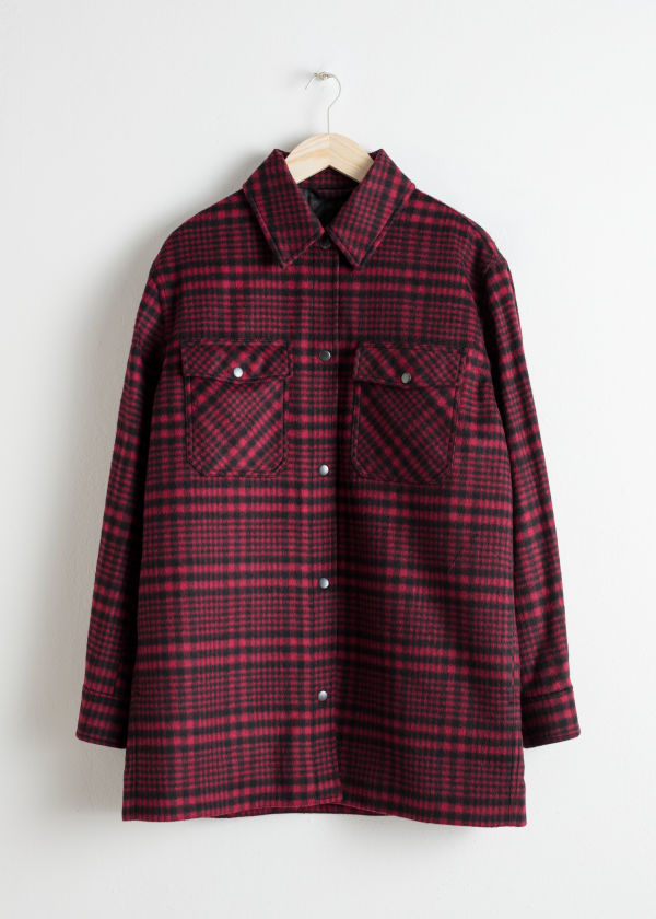 Front image of Stories wool blend plaid overshirt in red