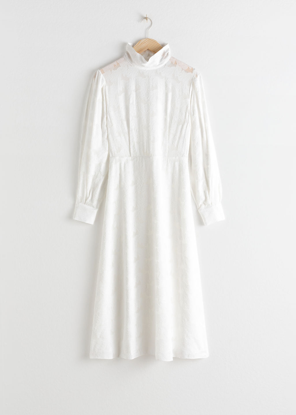 Front image of Stories turtleneck jacquard dress in white