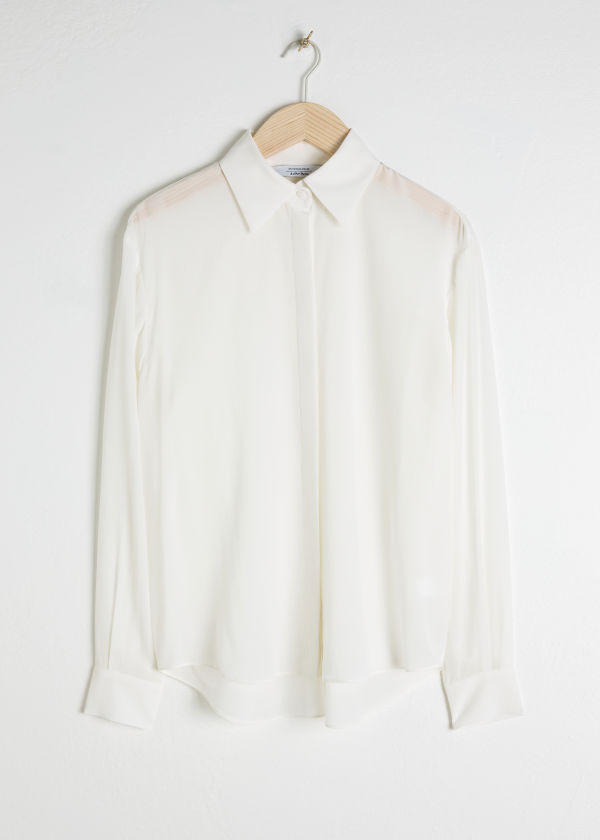 Pointed Collar Silk Shirt