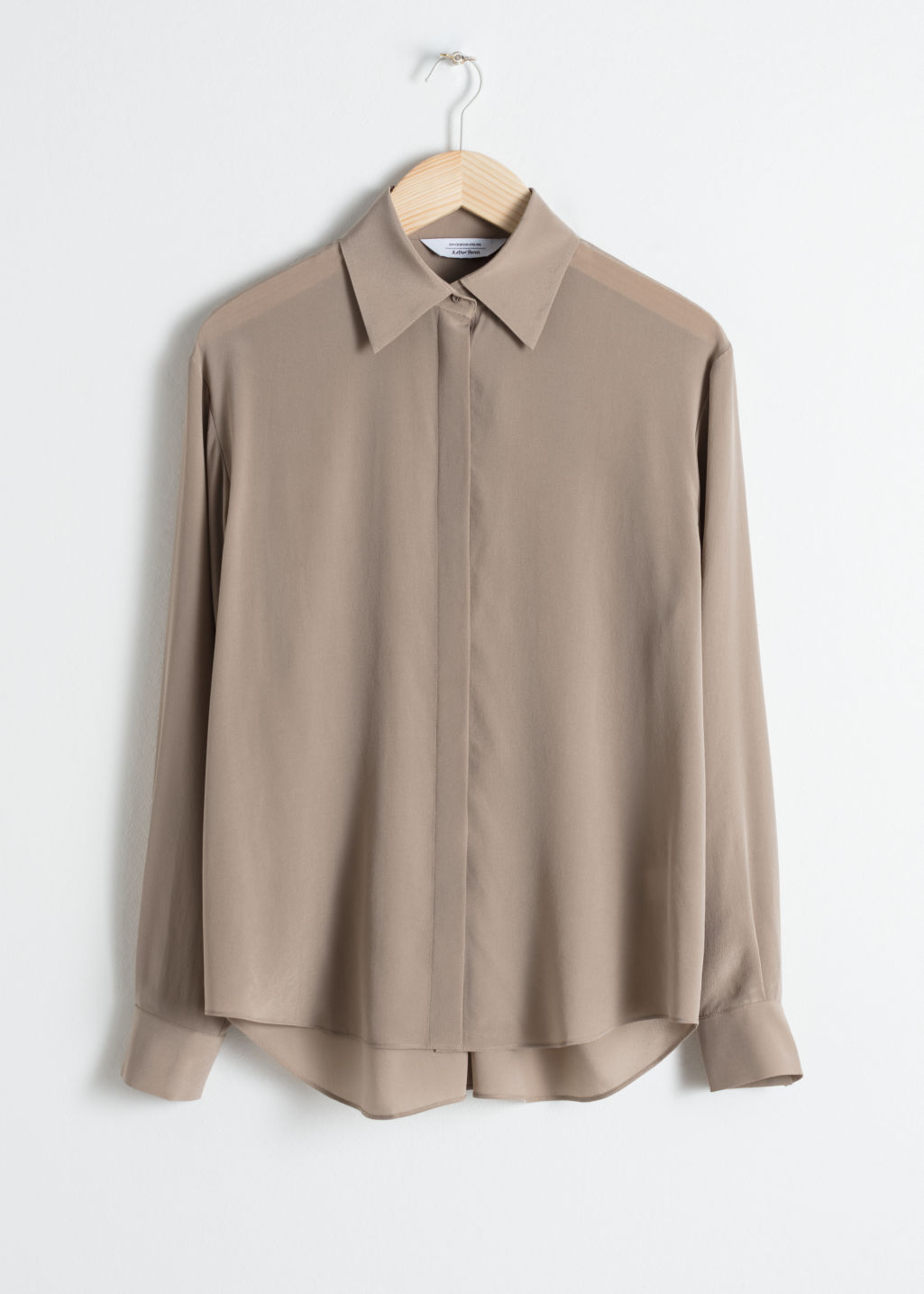 Front image of Stories pointed collar silk shirt in brown