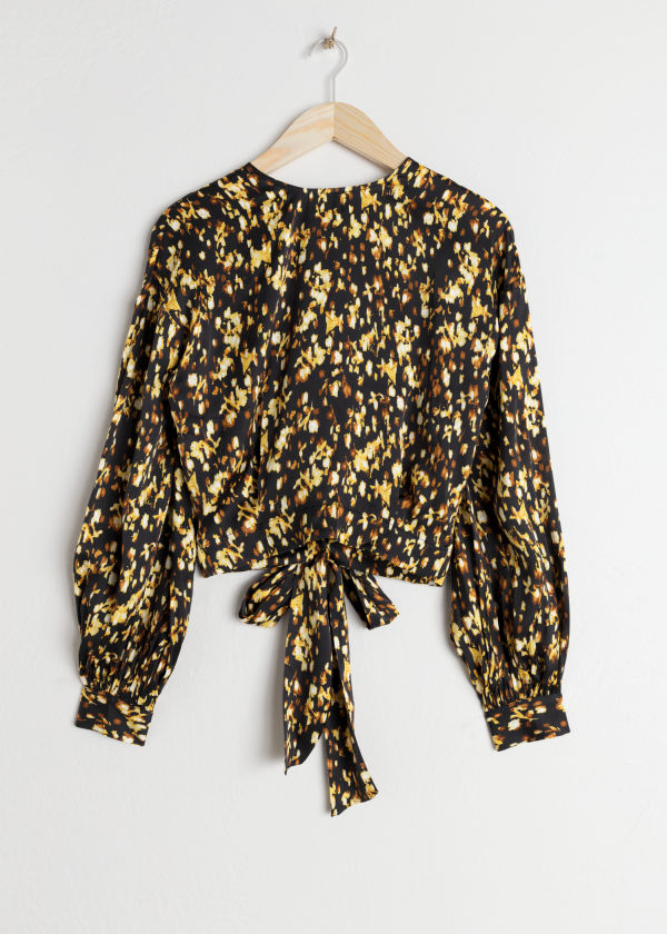 Printed Satin Tie Blouse