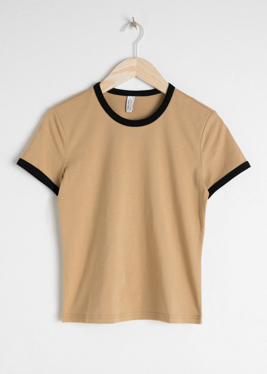 Front image of Stories coloured ringer tee in beige