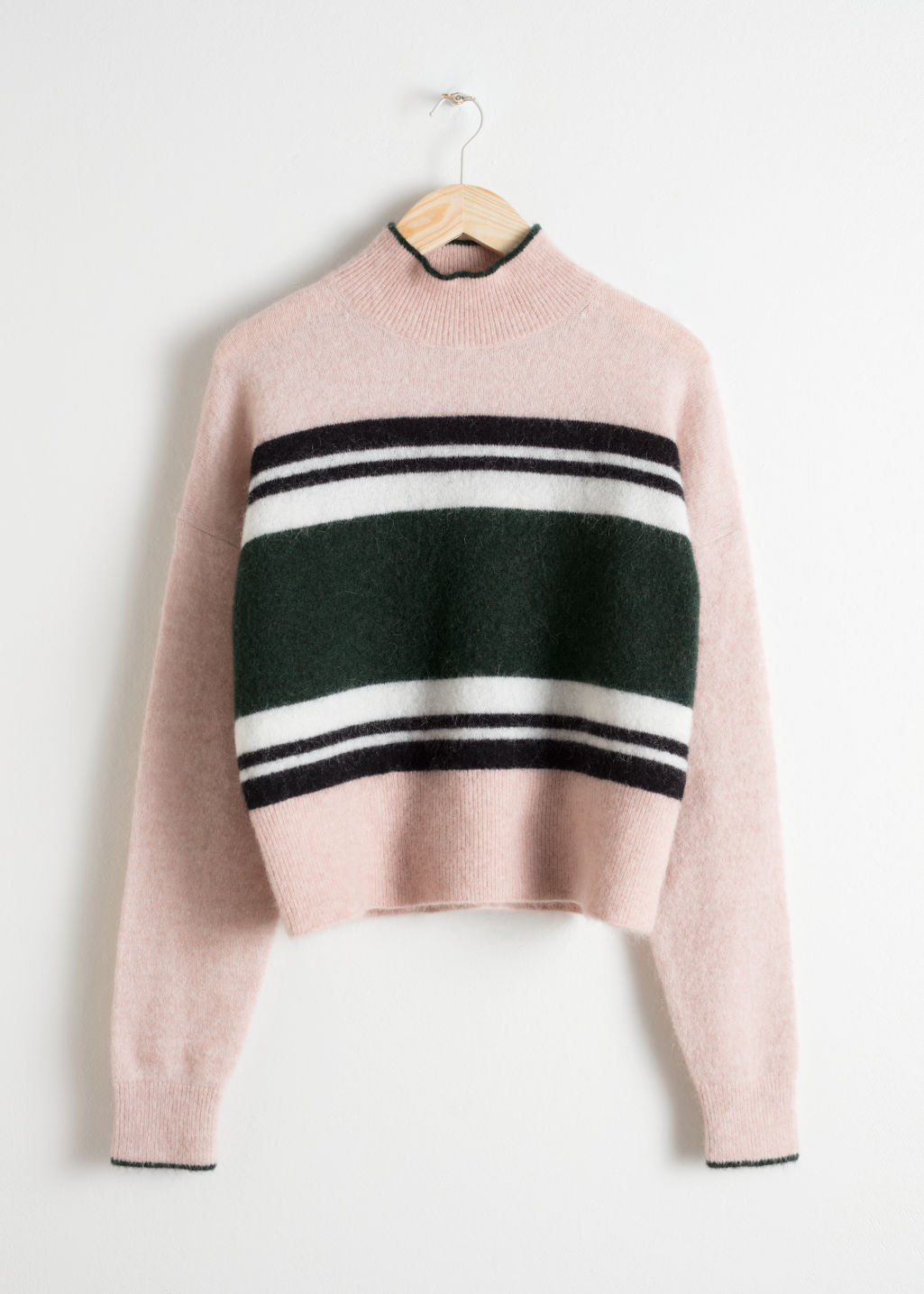 Front image of Stories striped mock neck sweater in beige