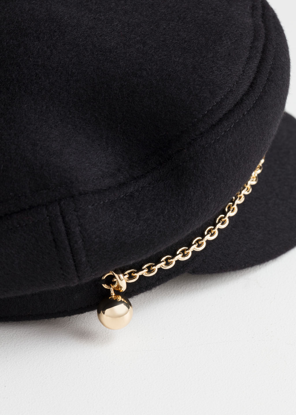 Back image of Stories chain wool blend baker boy cap in black
