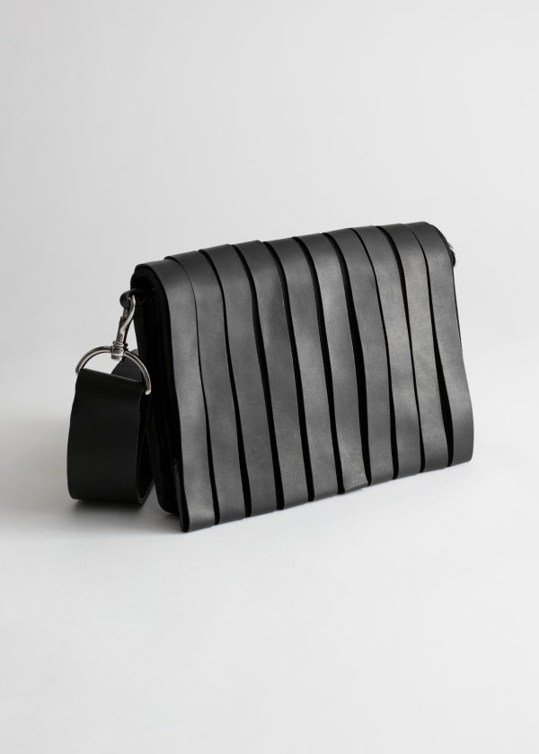 Leather Strip Crossbody Bag