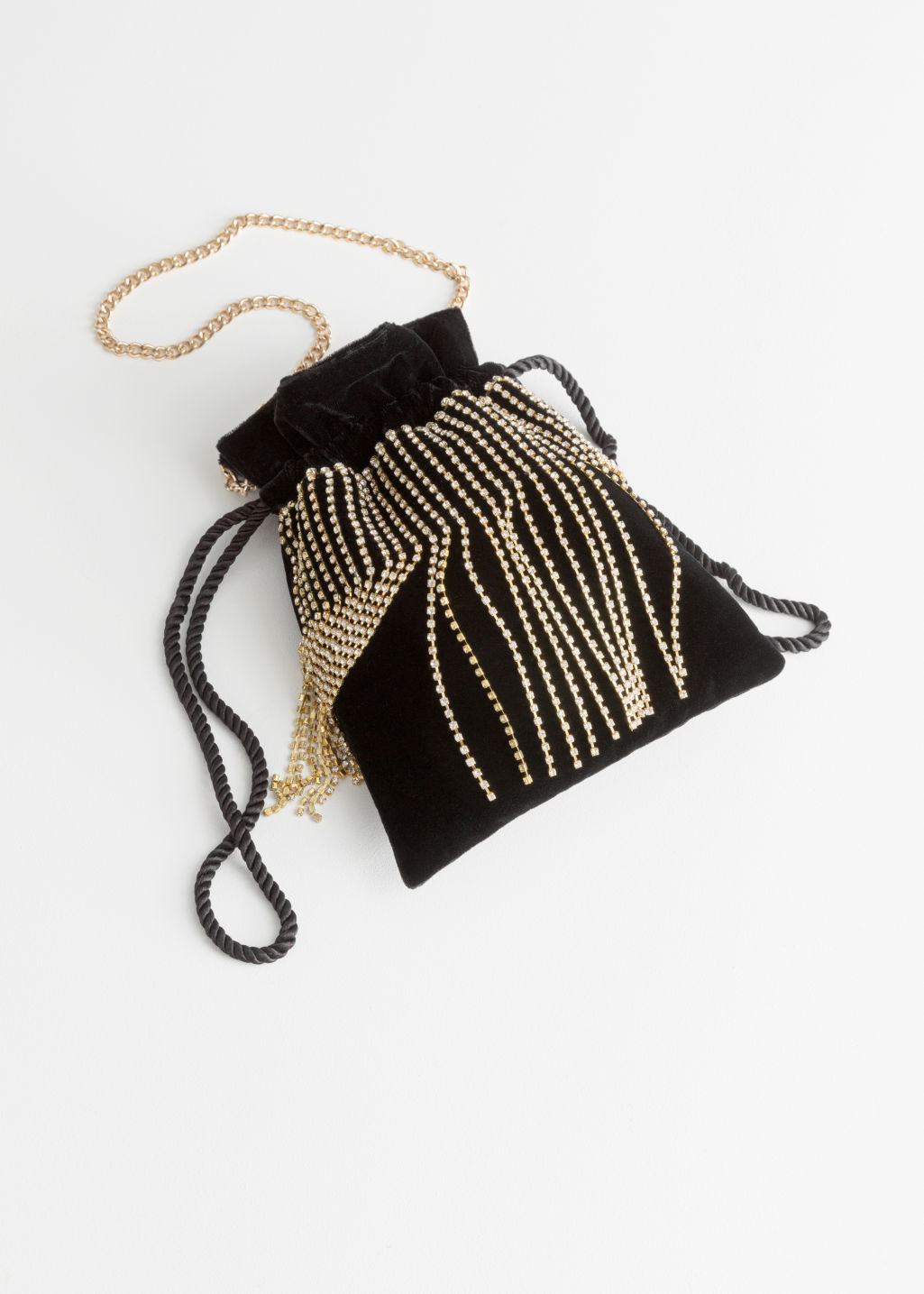 Front image of Stories jewelled drawstring bag in black