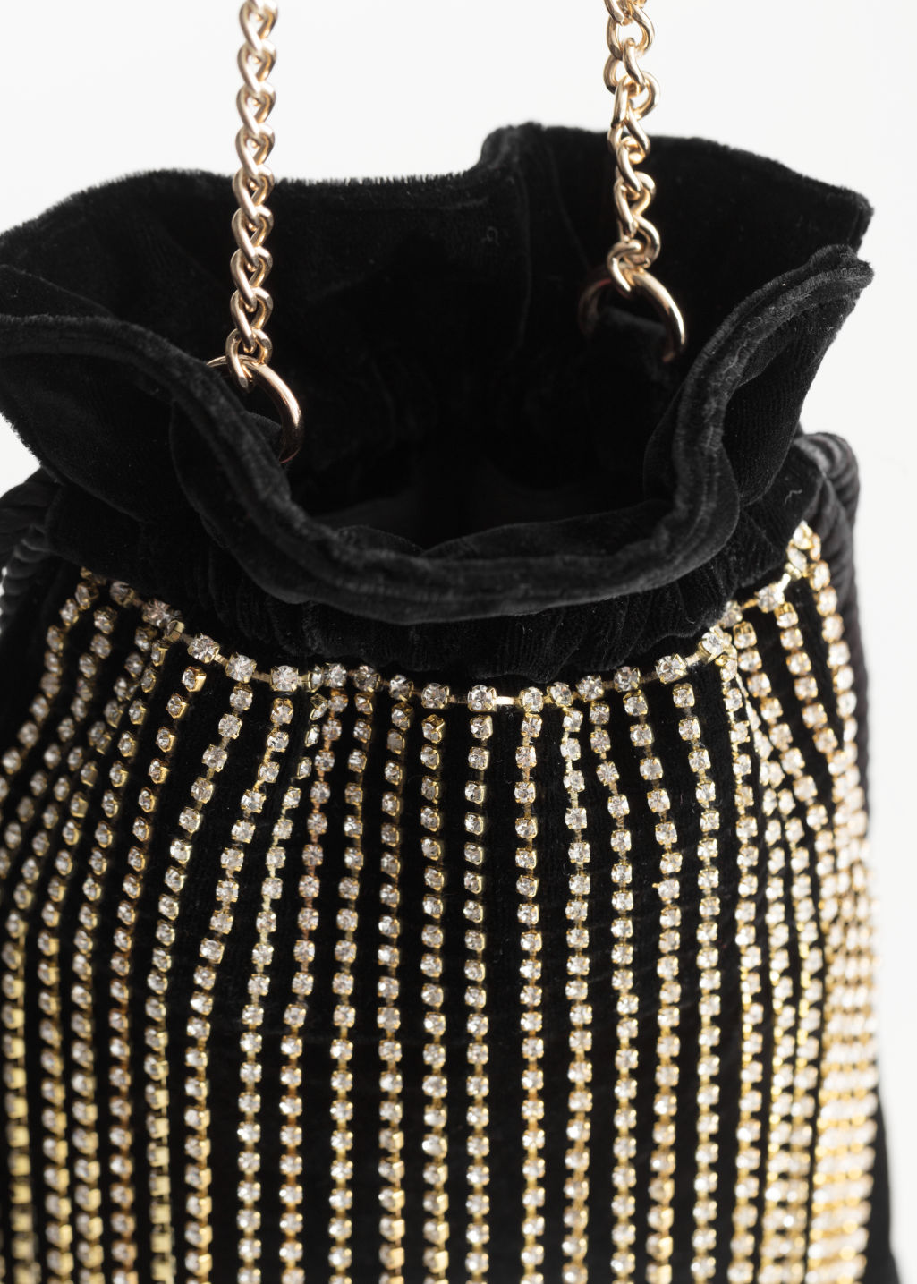 Back image of Stories jewelled drawstring bag in black