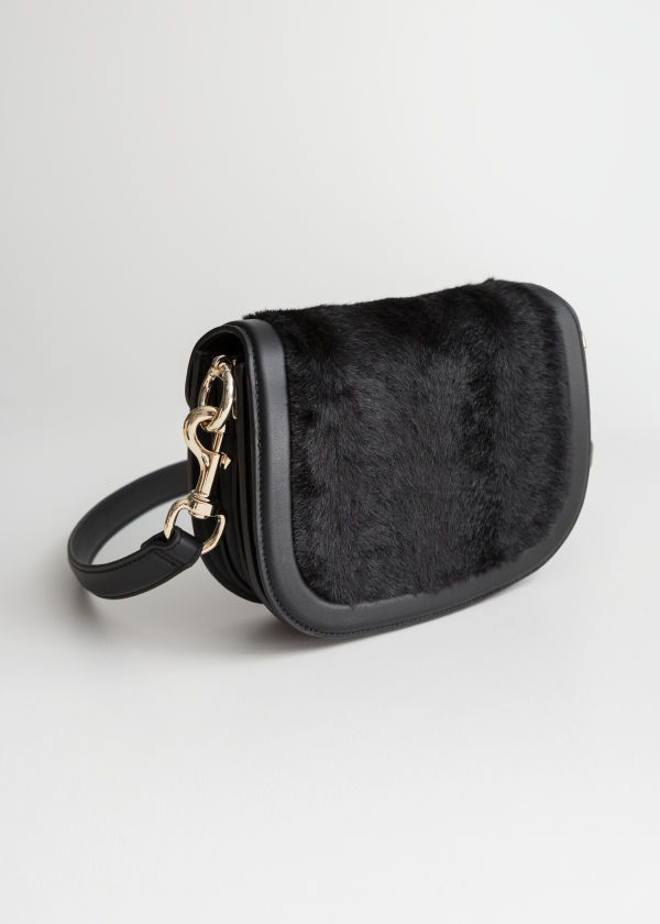 Faux Fur Mini Saddle Bag