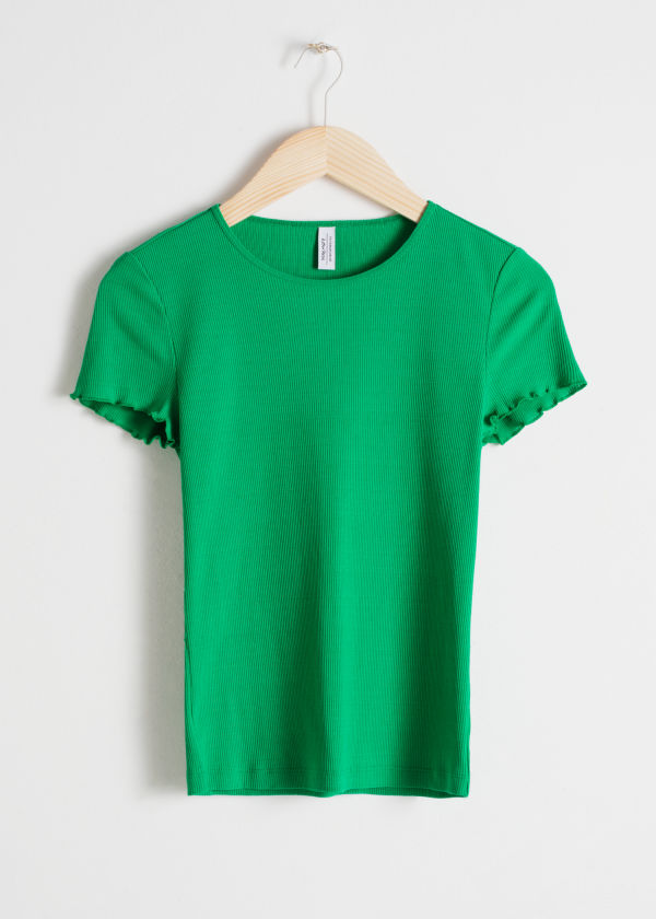 Ribbed Cotton Ruffle Tee