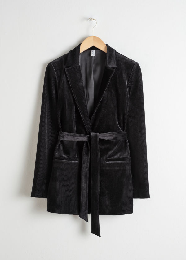 Front image of Stories belted velour blazer in black