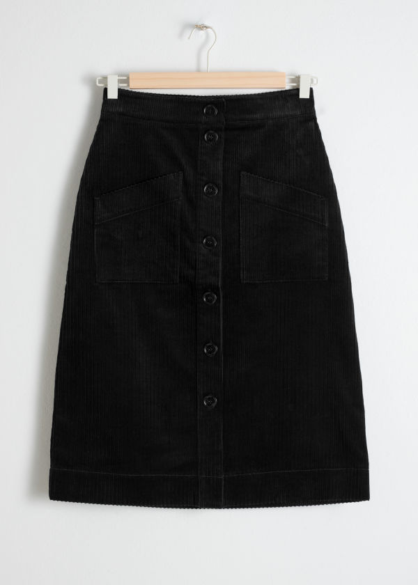 Front image of Stories a-line corduroy skirt in black