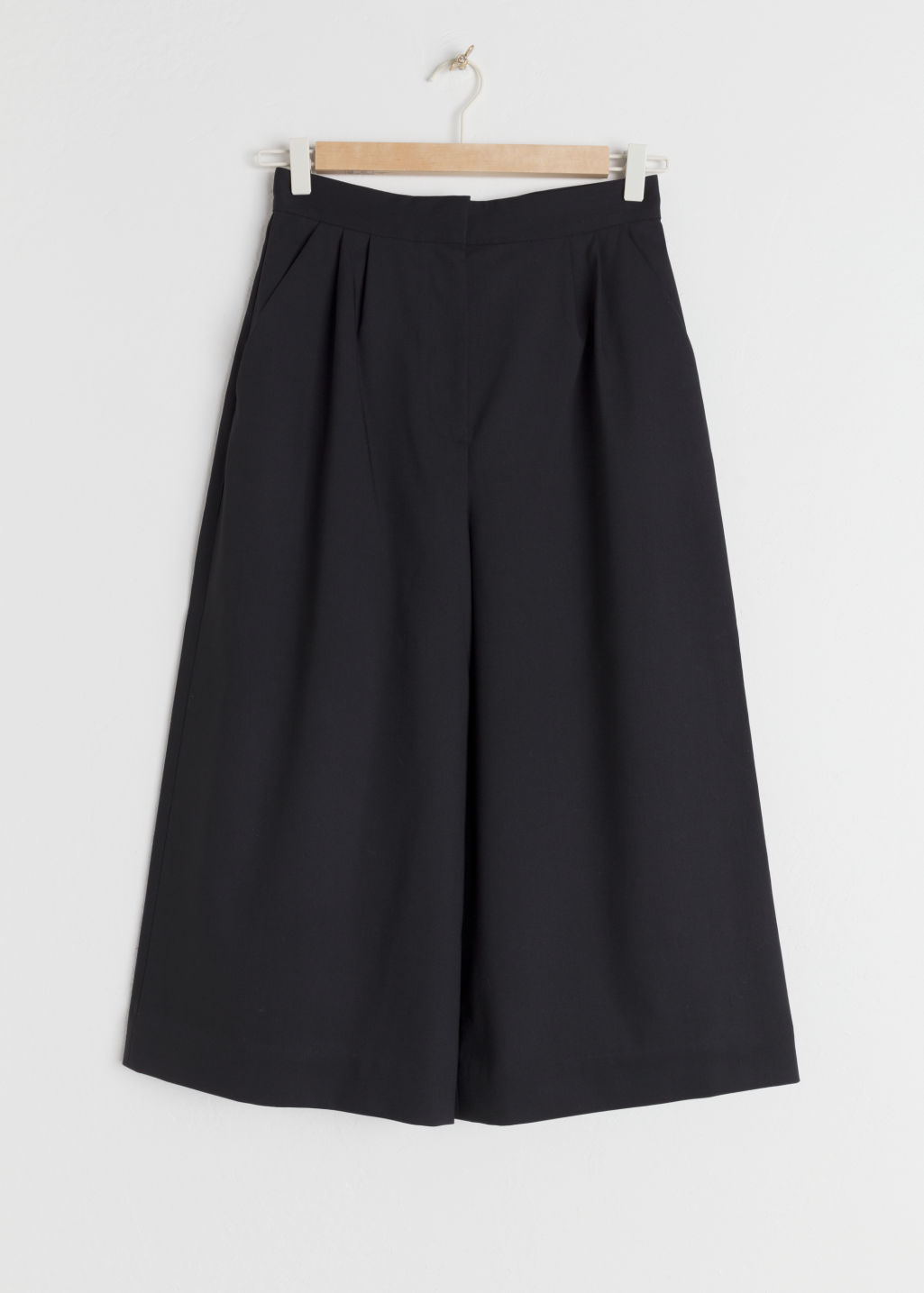 Front image of Stories high waisted twill culottes in black