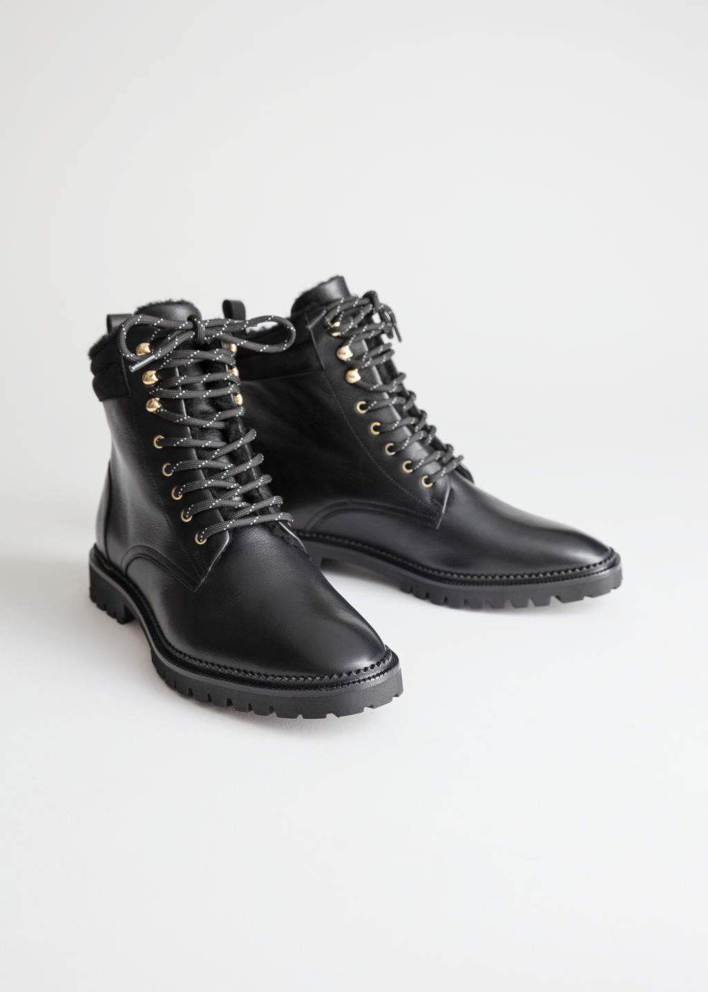 Leather Lace Up Snow Boots - Black - Ankleboots -   Other Stories f258a8c51834