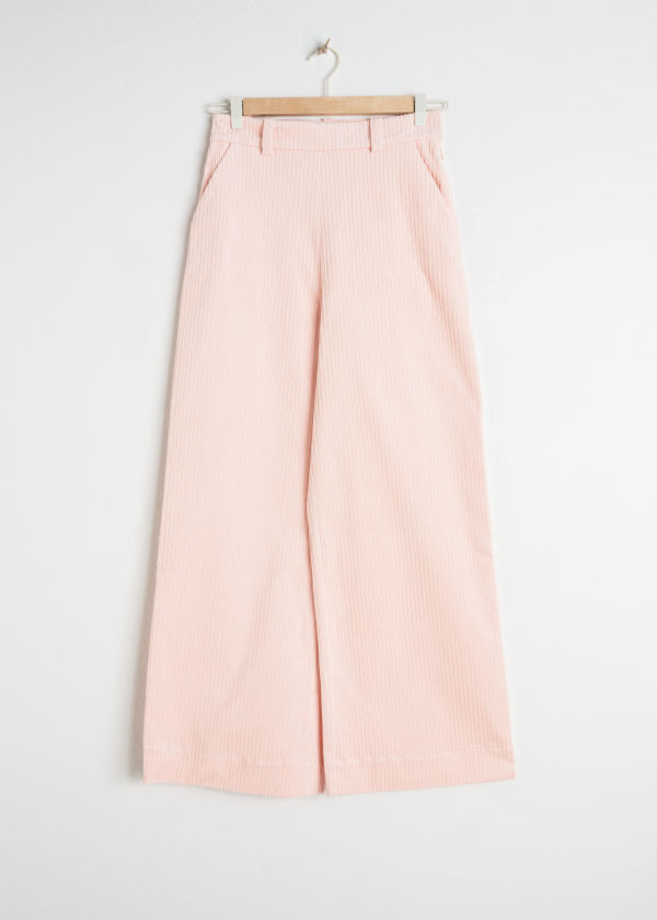 Front image of Stories wide corduroy trousers in pink