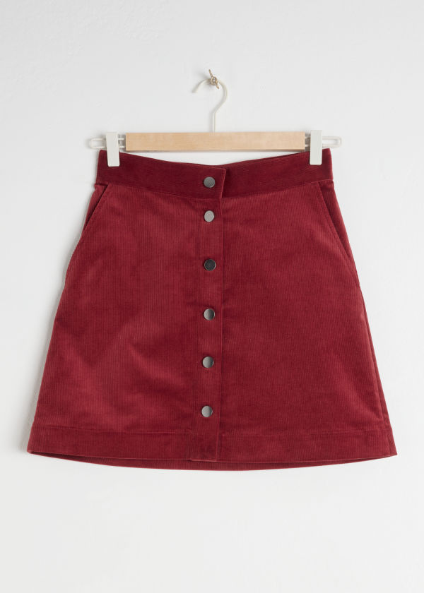 Front image of Stories corduroy mini skirt in red