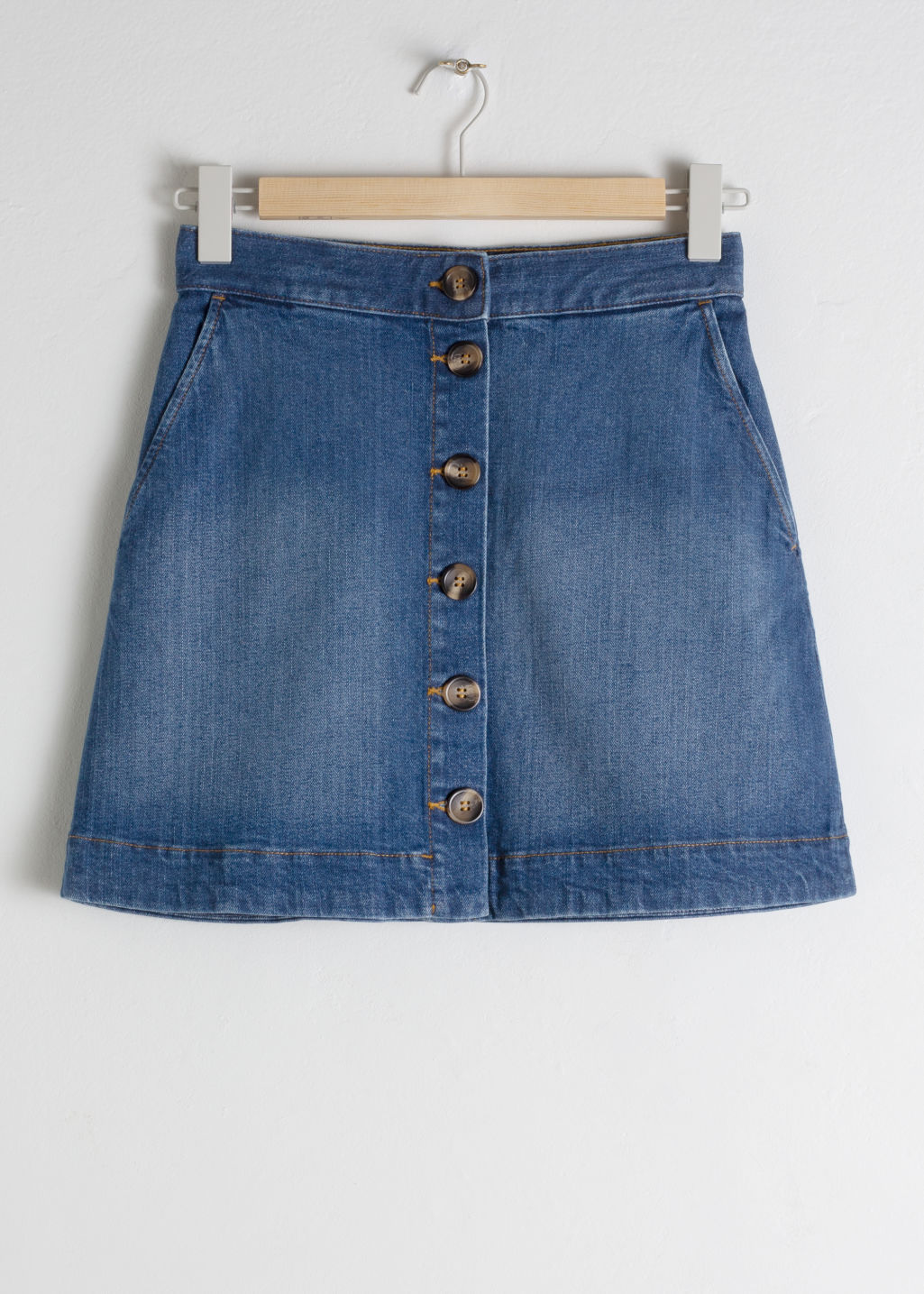 Front image of Stories corduroy mini skirt in blue