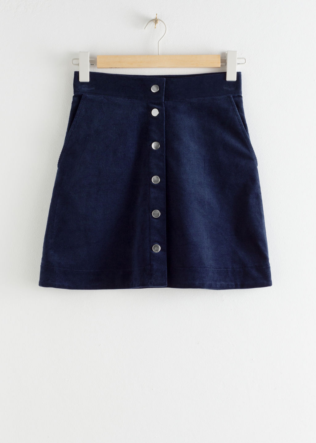StillLife Front Image of Stories Corduroy Mini Skirt in Blue