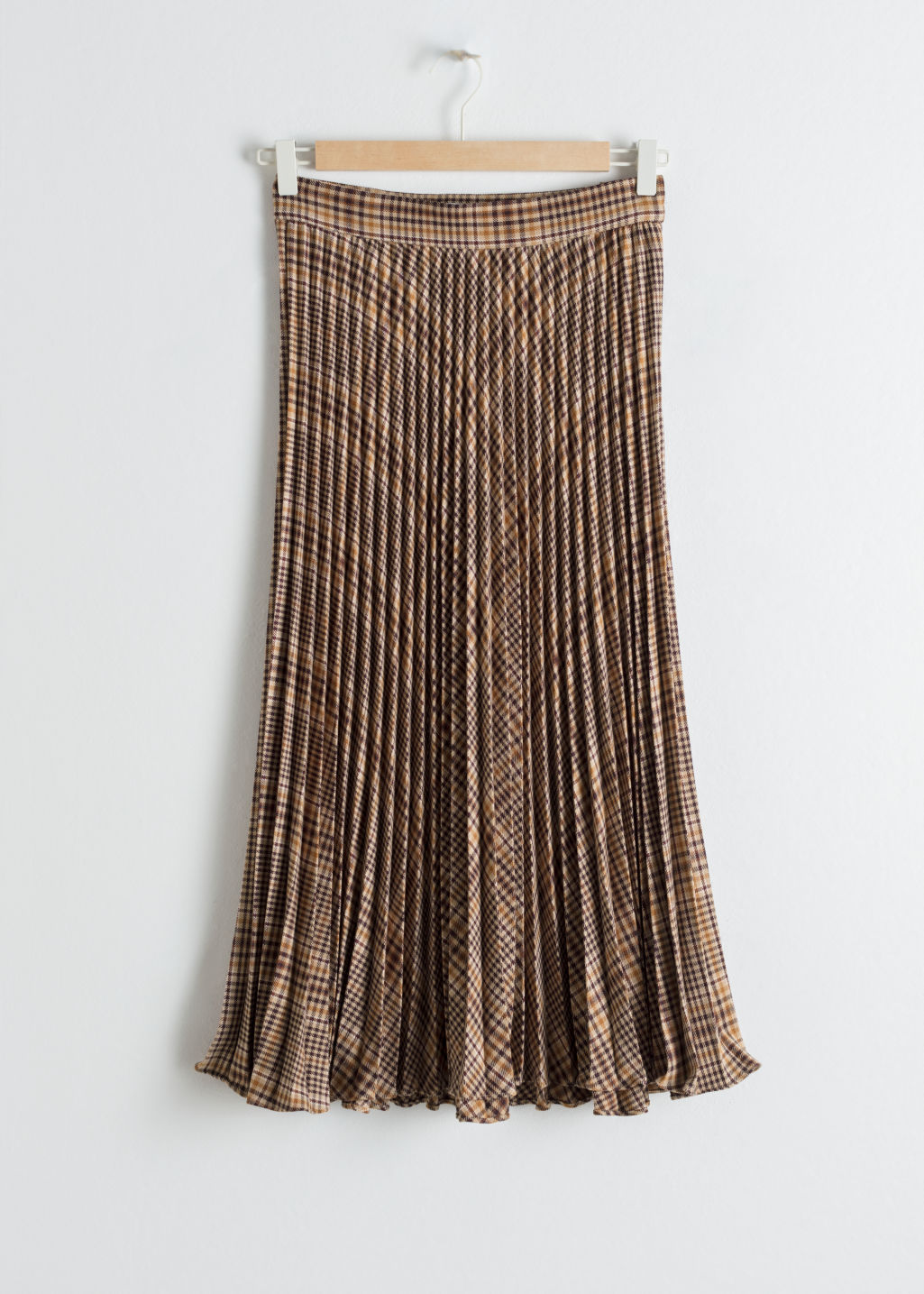 Front image of Stories pleated plaid midi skirt in brown