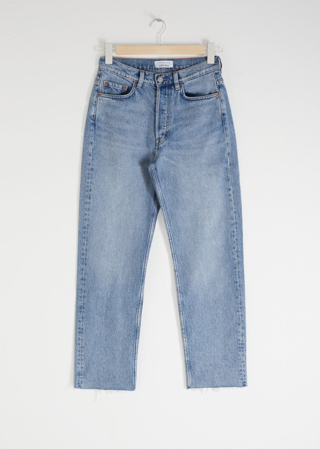 Front image of Stories straight mid rise jeans in blue
