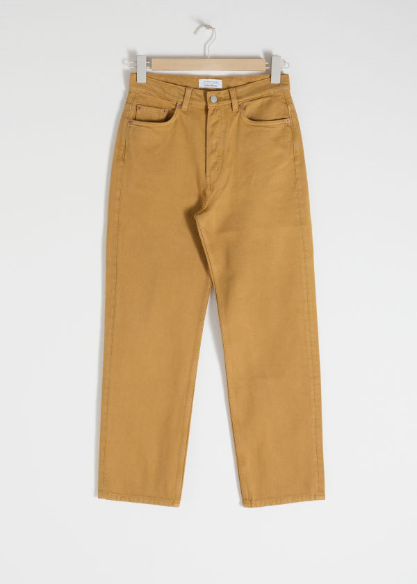Front image of Stories straight mid rise jeans in yellow