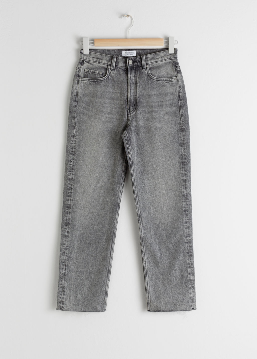 StillLife Front Image of Stories Straight High Rise Jeans in Grey