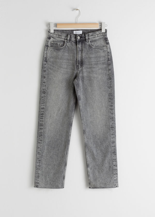 Front image of Stories straight mid rise jeans in grey