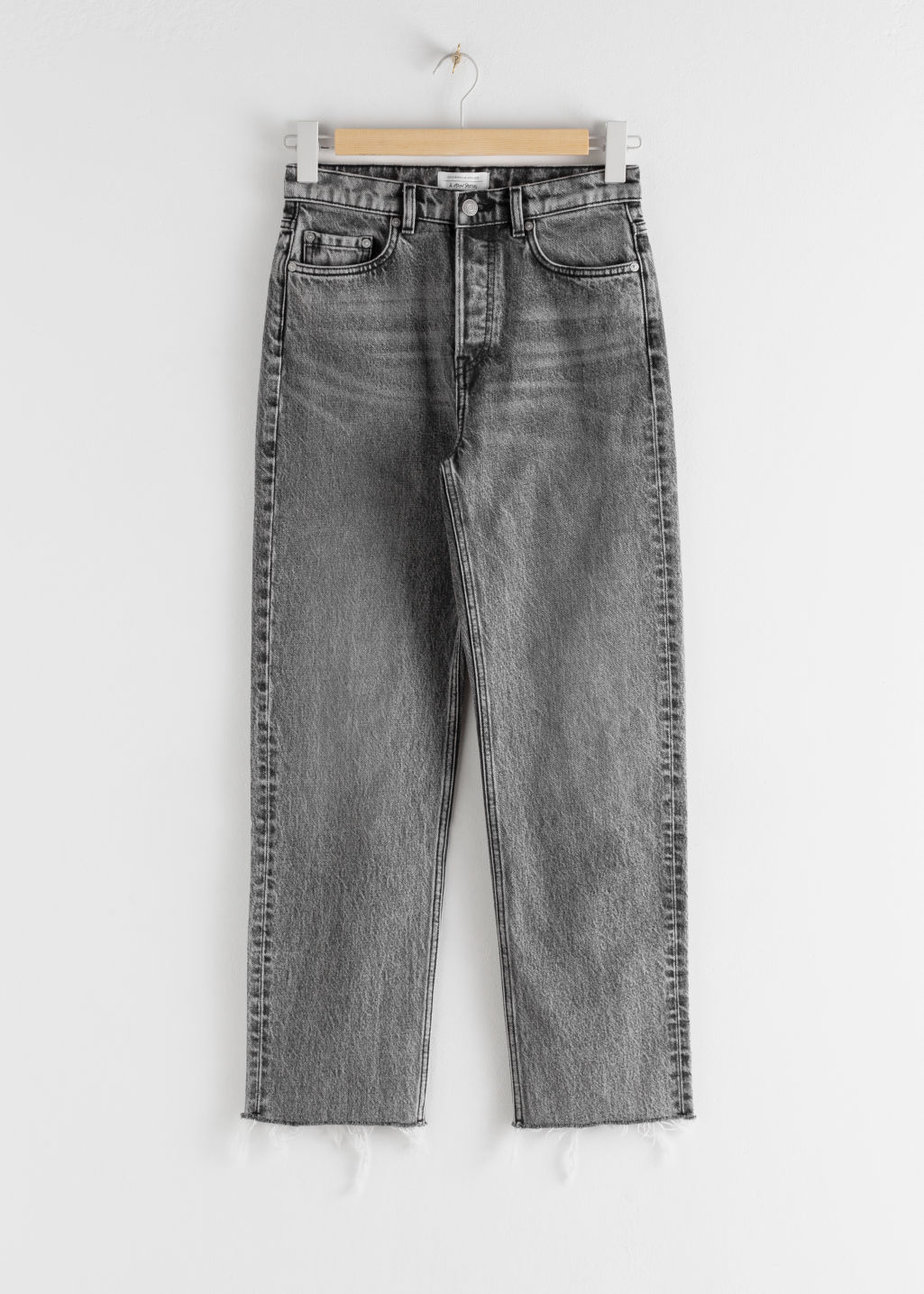 Front image of Stories straight mid rise jeans in black