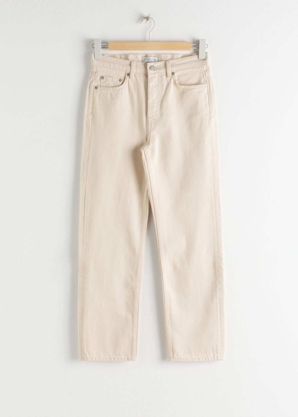 StillLife Front Image of Stories Straight High Rise Jeans in Beige