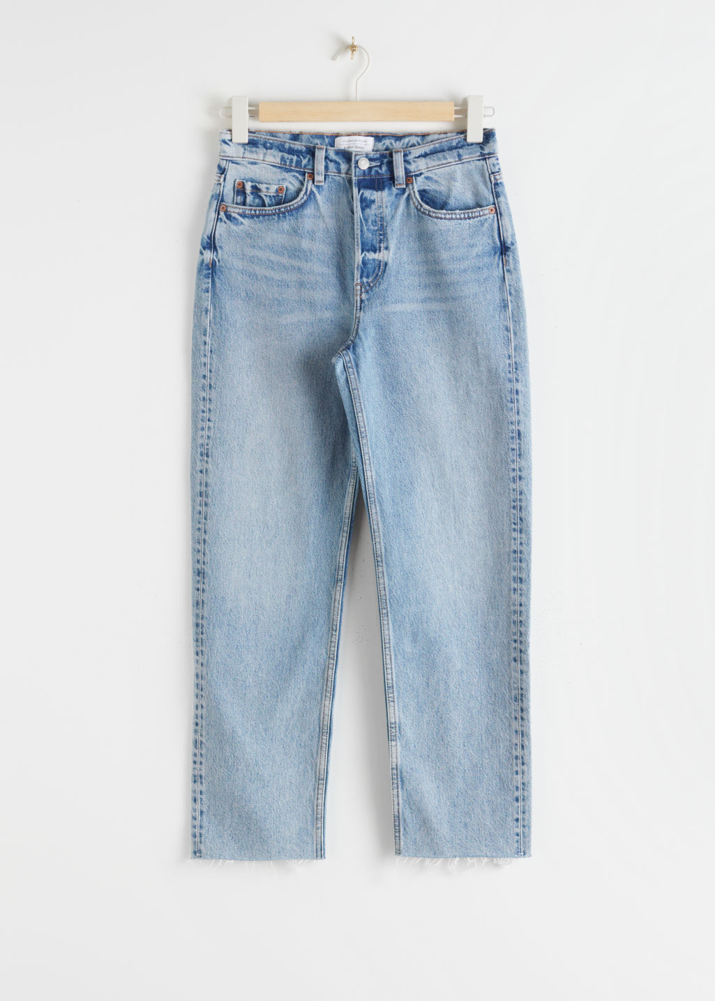 StillLife Front Image of Stories Straight High Rise Jeans in Blue