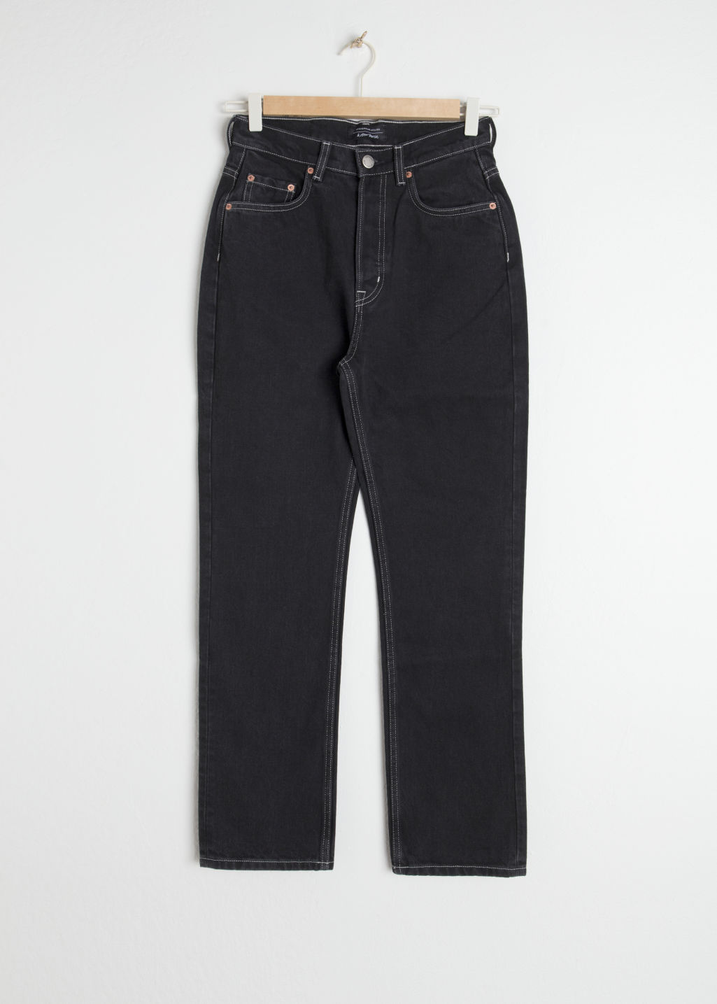 Front image of Stories cropped straight high rise jeans in black