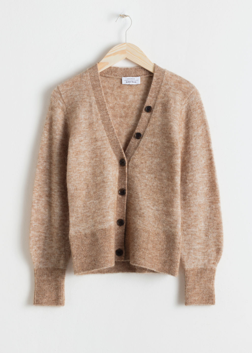 Front image of Stories wool blend cardigan in beige