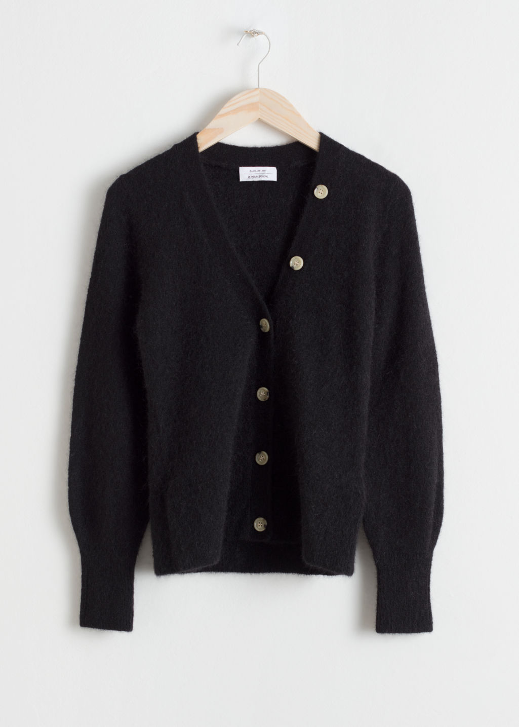 Front image of Stories wool blend cardigan in black