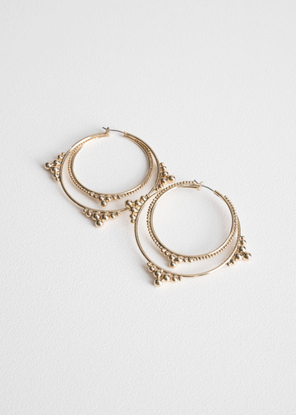 Ball Stud Hoop Earrings
