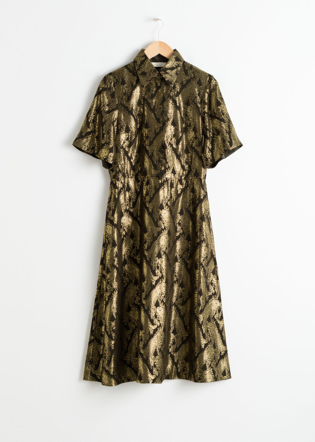 Front image of Stories metallic jacquard shirt dress in black