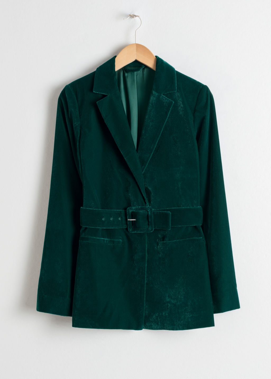 Front image of Stories velvet belted blazer in turquoise