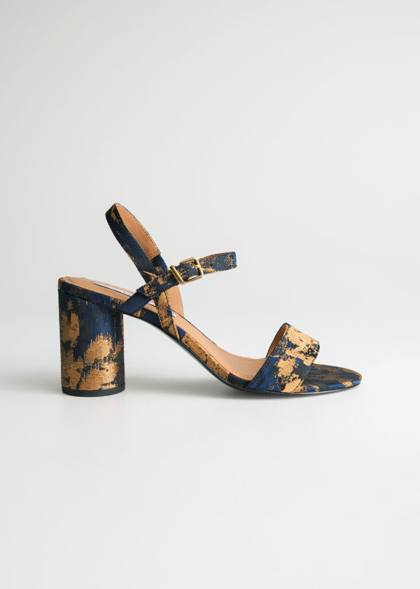 Front image of Stories strappy heeled sandals in blue