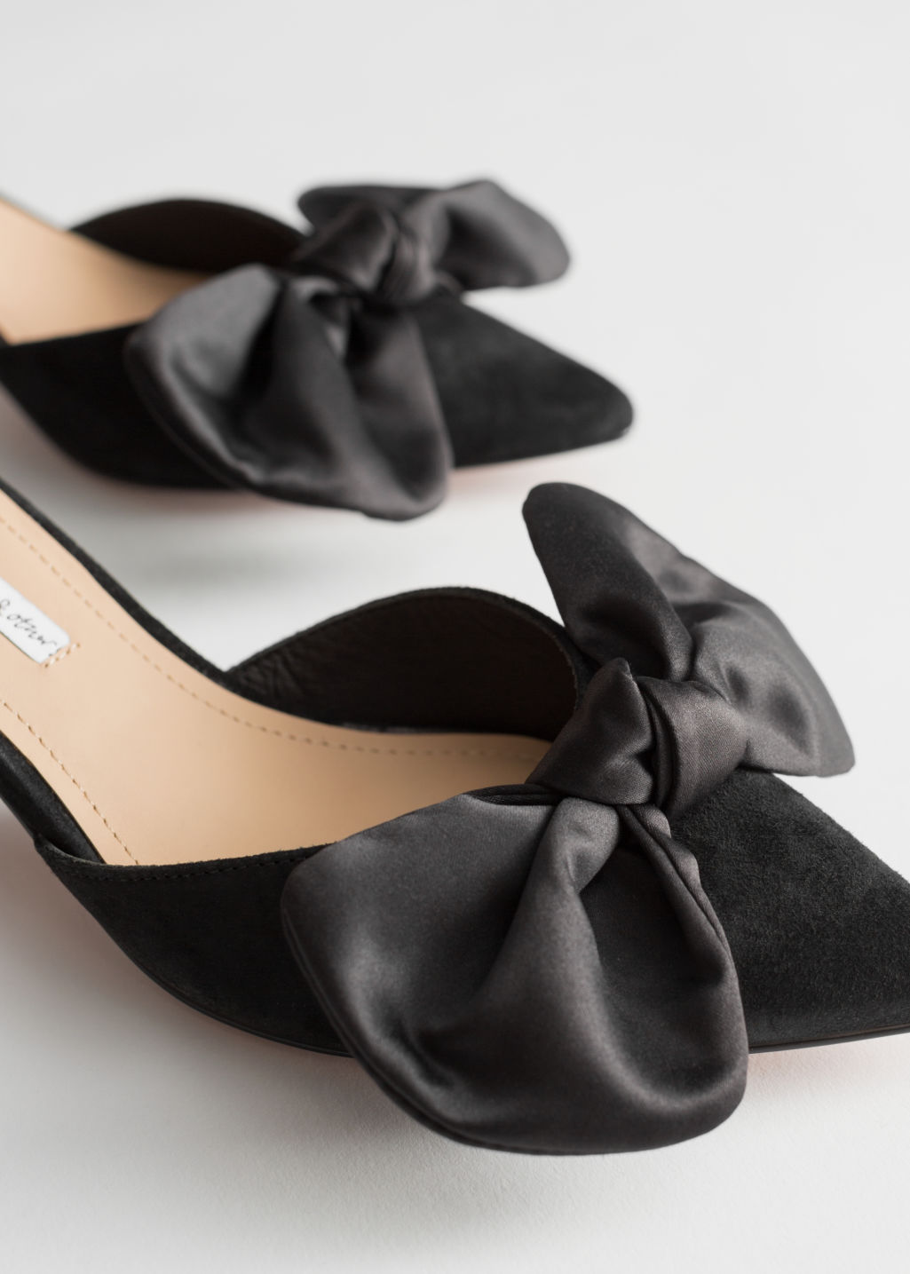 Back image of Stories suede satin bow kitten heels in black