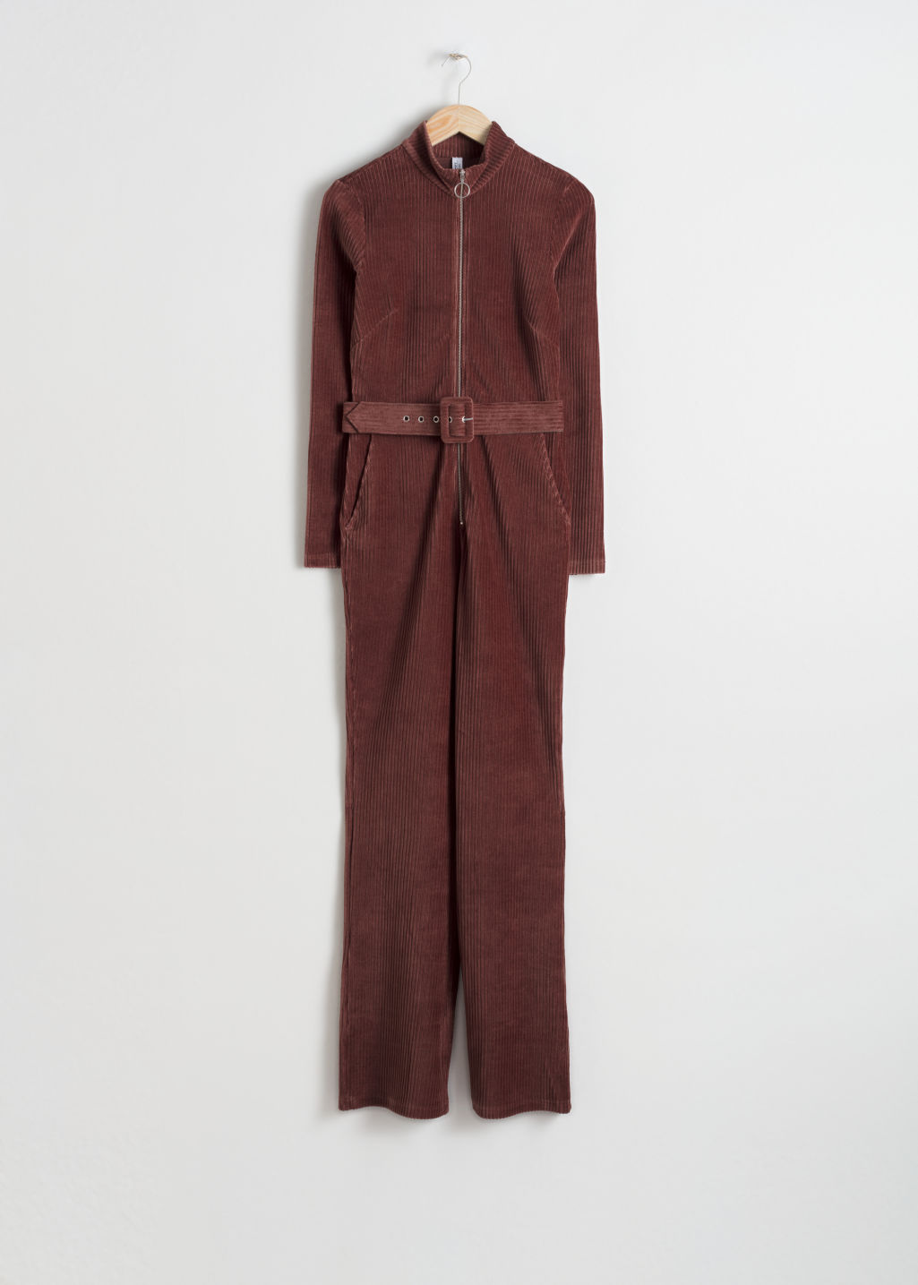 Front image of Stories belted corduroy jumpsuit in brown