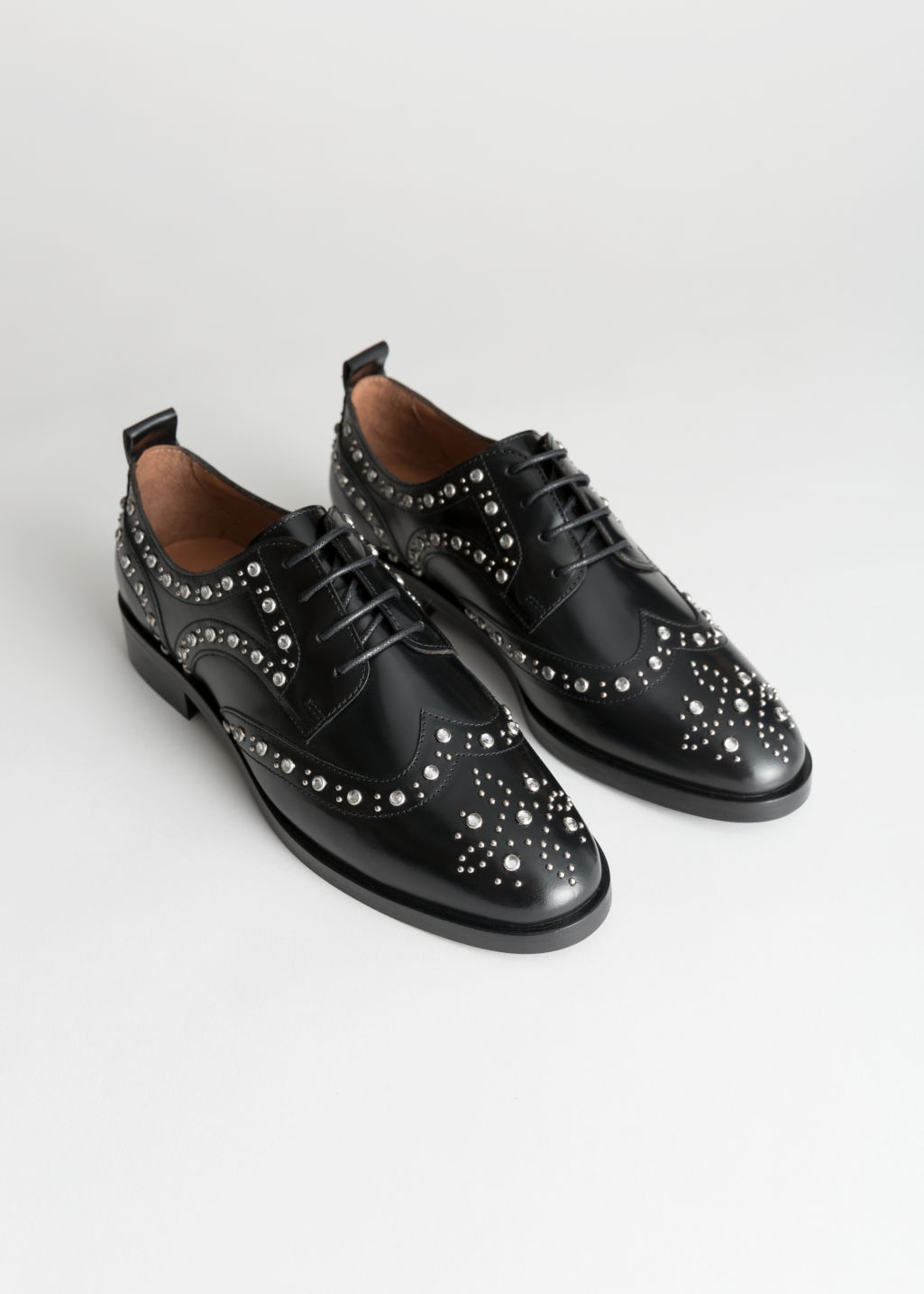 Back image of Stories rhinestone stud leather brogues in black