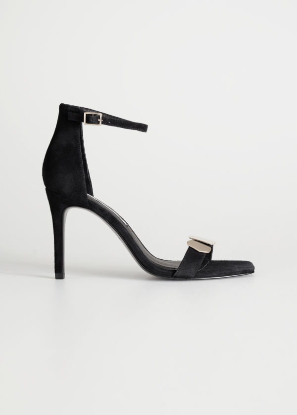 Suede Square Toe Heeled Sandals