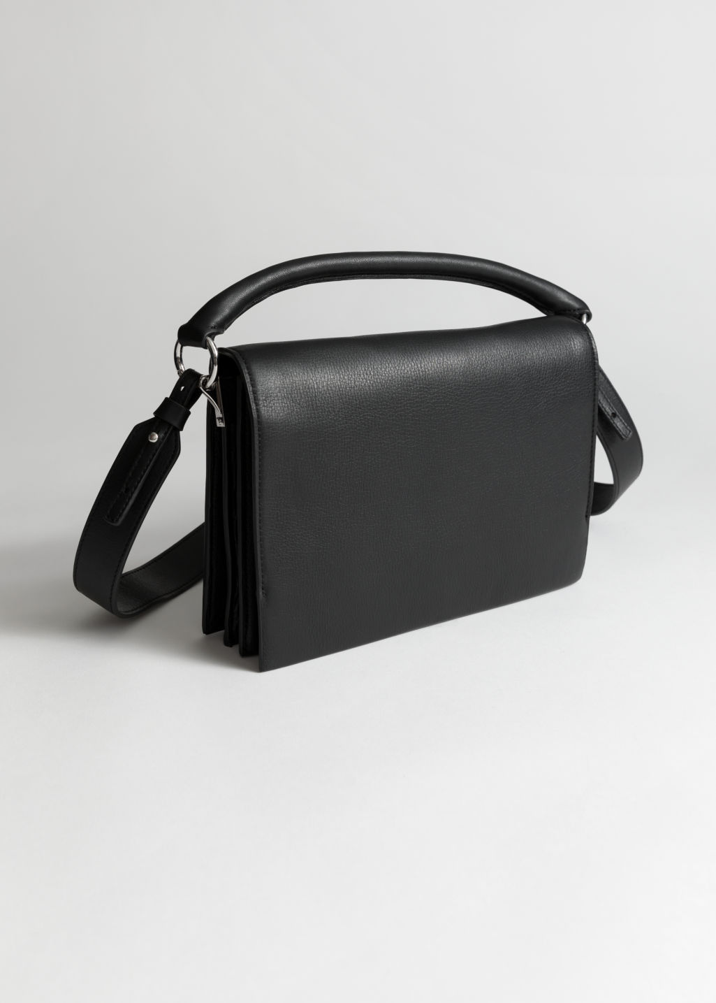 eabf281345e8 Leather Fold Over Crossbody Bag - Black - Shoulderbags -   Other ...