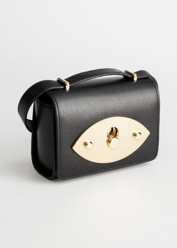 Push Lock Leather Crossbody Bag