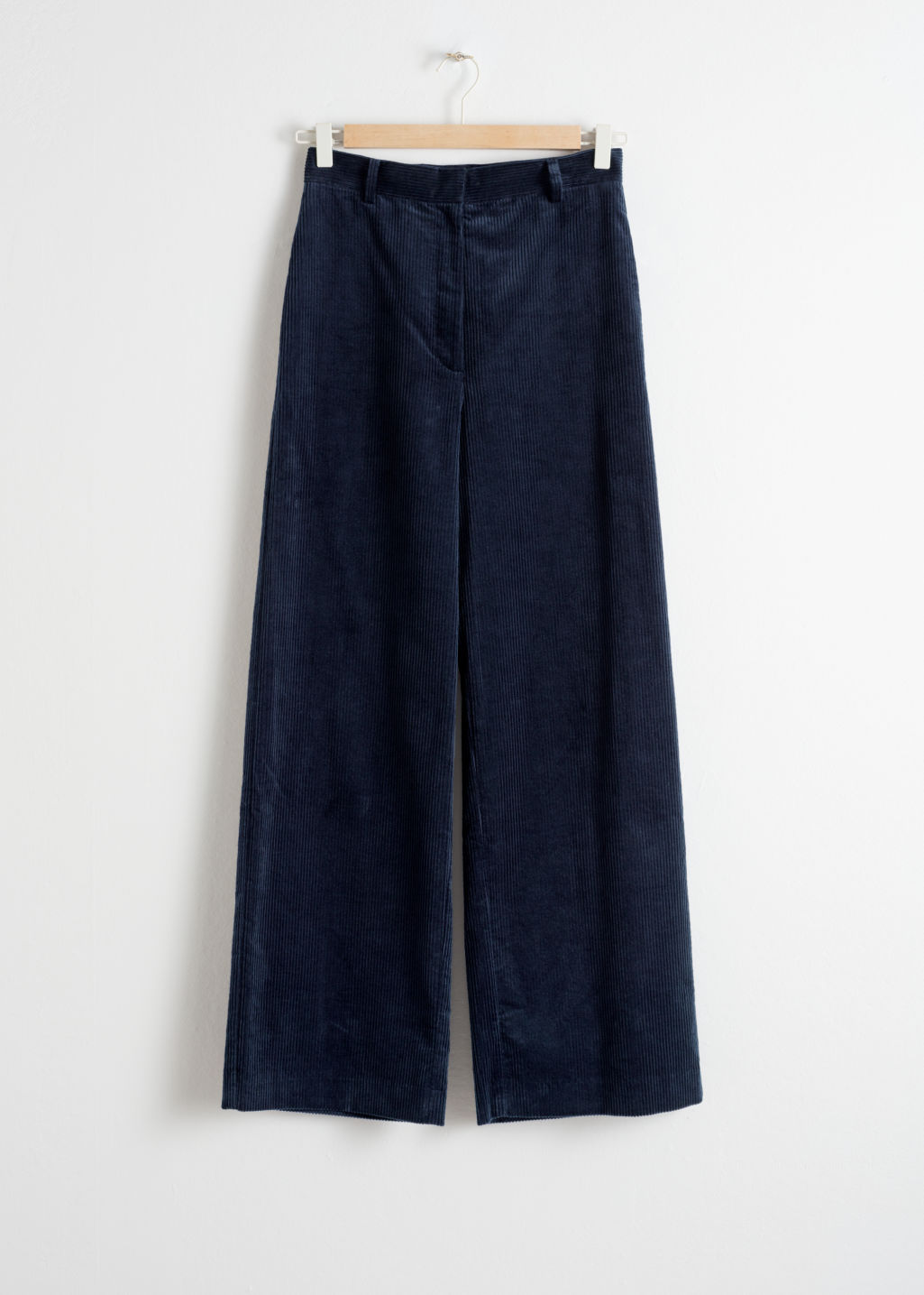Front image of Stories high waist wide corduroy trousers in blue