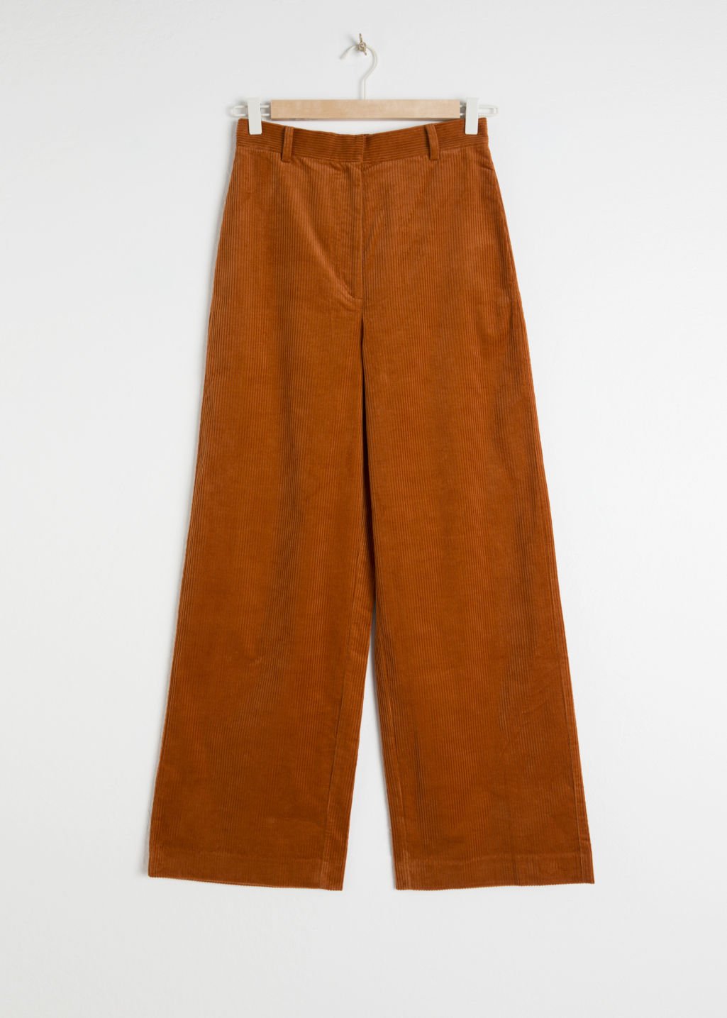 StillLife Front Image of Stories High Waist Wide Corduroy Trousers in Orange