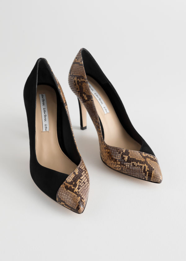 Front image of Stories snake overlap stiletto pumps in black