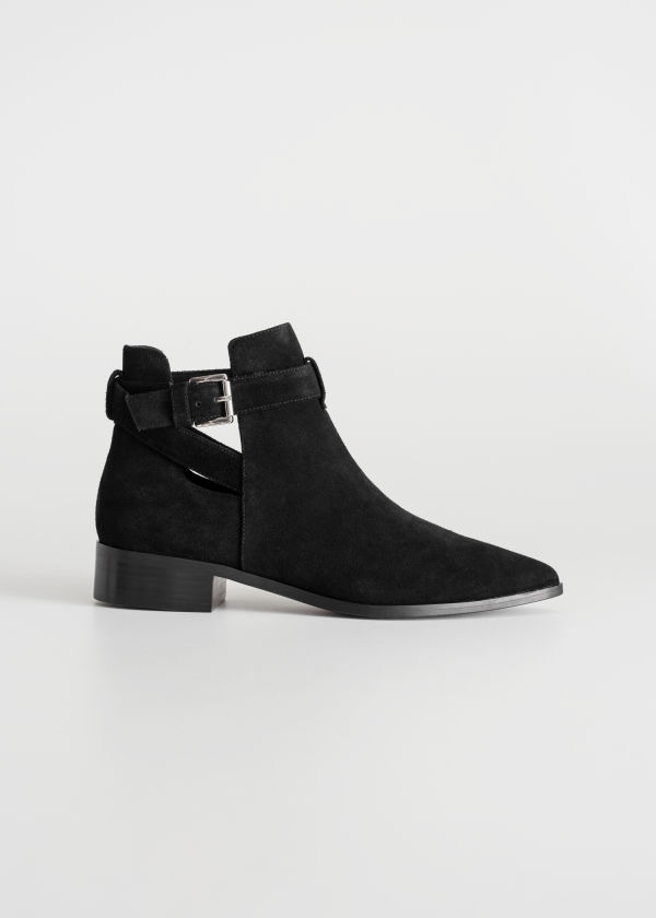 Front image of Stories cutout buckle chelsea boots in black