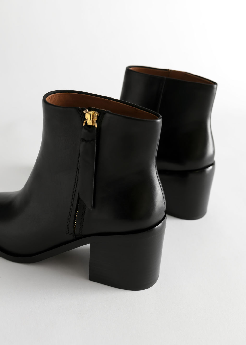 Back image of Stories pointed ankle boots in black