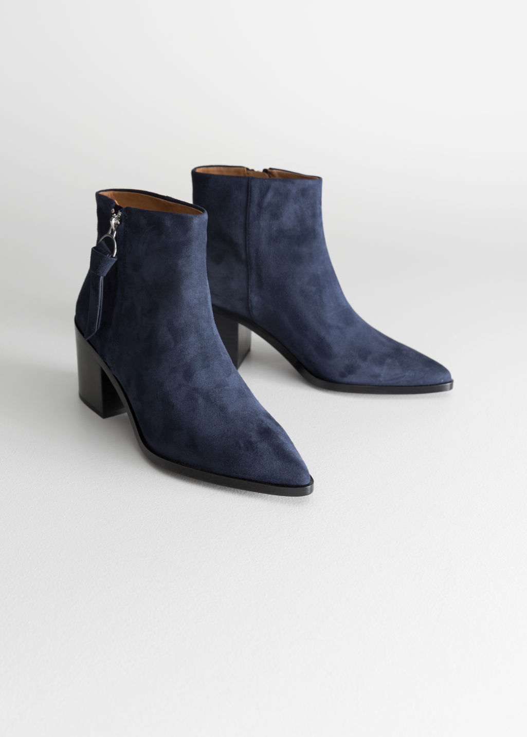 Back image of Stories pointed ankle boots in blue