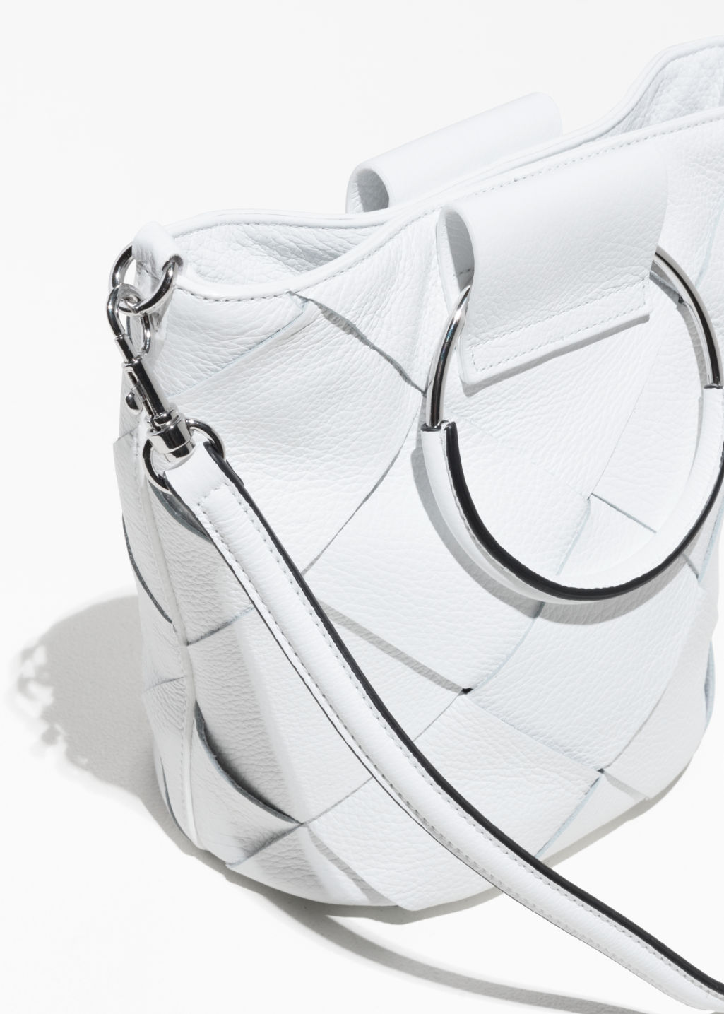 Back image of Stories woven leather bucket bag in white