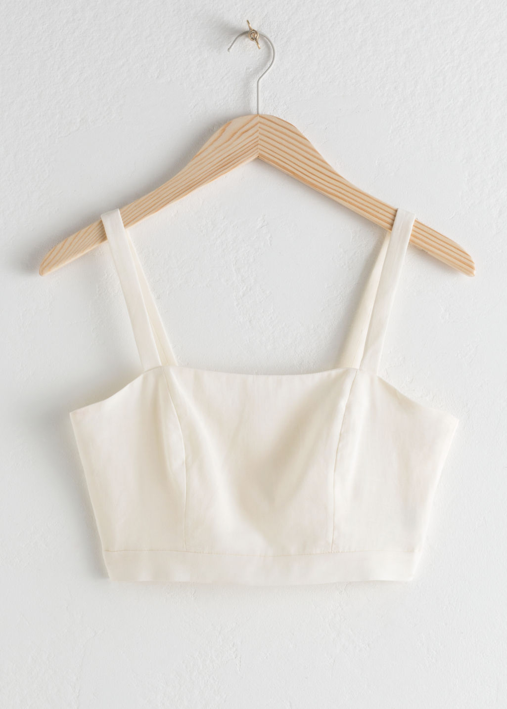 Front image of Stories square bustier tank top in white